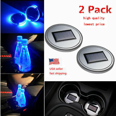 2PC Solar Cup Pad Car Accessories LED Light Cover Interior Decoration Lights US