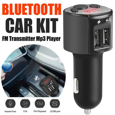Bluetooth Car Kit FM Transmitter Wireless Radio Adapter 2USB Charger Mp3 Player