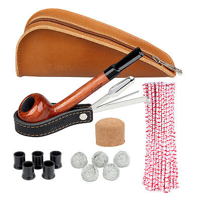 Smoking Pipe Roes Wood Leather Tobacco Pipes Pouch Tamper Cleaning Tool Gift Set
