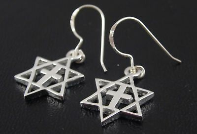 Star of David with cross messianic Earrings from ISRAEL 925 STERLING SILVER NEW