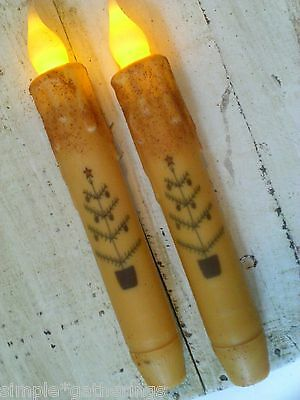 CHRISTMAS TREE LED TIMER Taper Candles GRUNGY CREAM Set of 2 Primitive 6 3/4""