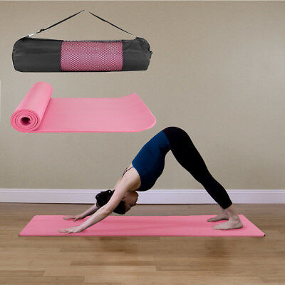 1Cm Thick Foam Exercise Pink Yoga Mat Gym Workout Fitness  Pad Carrying