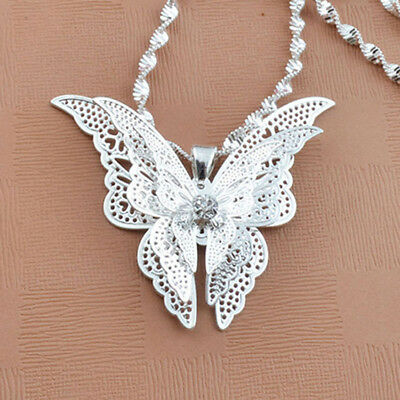 Exquisite Silver Plated Fashion Hollow Butterfly Shaped Pendant NO CHAIN Gift