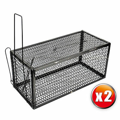 Fast 2 x Rat Catcher Spring Cage Trap Humane  Live Animal Rodent Indoor Outdoor