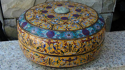 "Antique Chinese Large 16""D Cloisonne Covered Box W/ Dragon Jade Insert In Lid #2"
