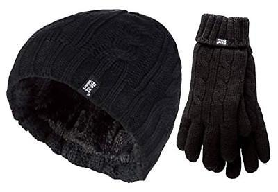 New With Tags Heat Lockers Ladies One Size Gloves & Hat Revolutionary Thermal