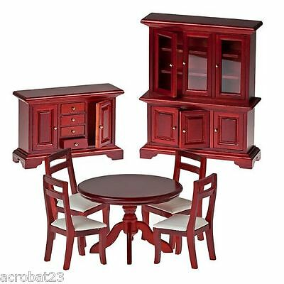 Furniture for Dolls Wooden DINING ROOM Dollhouse Miniature Scale 1:12 Model Set