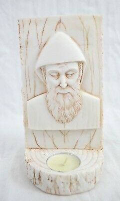 Polyresin, Saint Charbel With Candle