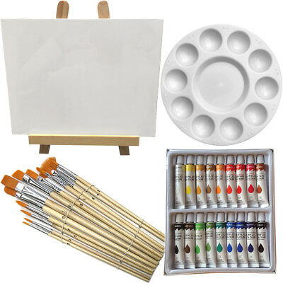 Art Painting Kit - Artist Paint Set with Easel, Canvas, 12 Brushes & 18 Acrylic
