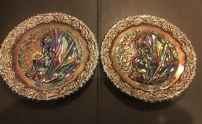 """2 x VINTAGE Fenton  AMETHYST CARNIVAL GLASS *MOTHERS DAY 1971"""" PLATE"""