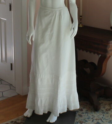 Antique Victorian 1800s White Cotton Ruffled Petticoat or Skirt with Drawstring