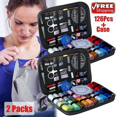 2X 126PCS Portable Sewing Kit Home Travel Needle Thread Tape Scissor Tool Set US