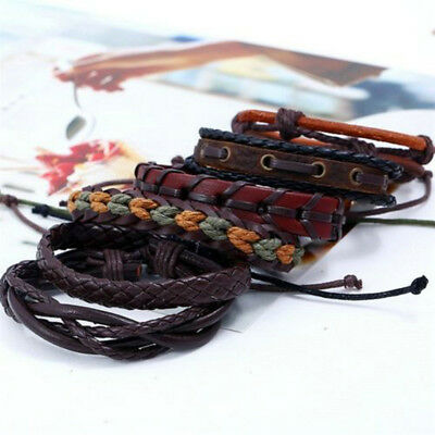 6pcs Fashion Bracelet Leather Wrap Braided Wristband Cuff Punk Men Bangle