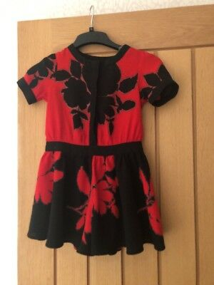 Girls Next Red And Black Floral Floaty Shorts Party Playsuit Age 5 Years