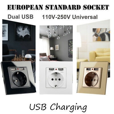 EU Wall Power Plug Socket with Usb Outlet 2A Dual USB Charger Plug Wall HQ