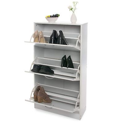 Home Treats White Wooden 3 Drawer Shoe Rack Pull Down Storage Cabinet