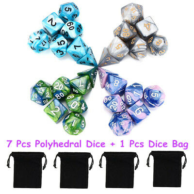 7Pcs Set Acrylic Polyhedral Dice + Bag for DND RPG MTG Role Playing Board Game