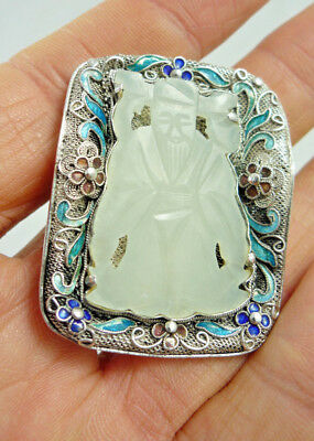 Chinese White Jade Nephrite Carved VINTAGE Sterling Silver Enamel Brooch  China