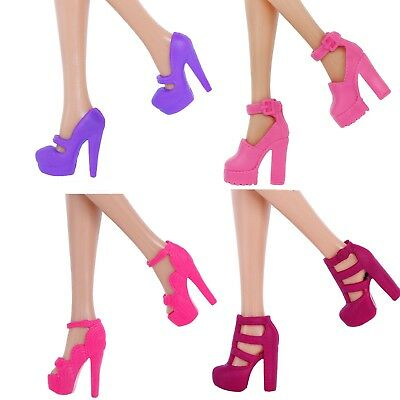8 Pcs =4 Pairs Fashion High-heels Shoes Clothes Accessories For Barbie Doll Gift