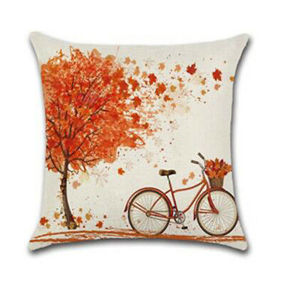 Fall Autumn Thanksgiving Fall Tree Leaf Bicycle Throw Pillow Cover Cushion 6A