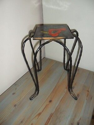 Unusual Small French Antique Wrought Iron Stand With Tile Top. Architectural & Garden Antiques