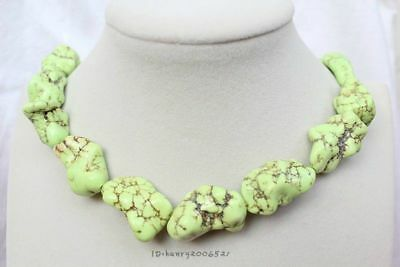 """NEW Beautiful Green Turquoise Stone Statement Necklace Boho Hippie Exotic 18"""""""