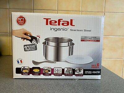 Tefal Ingenio Stainless Steel Saucepan Set 6 Pieces with Lid and Ladle