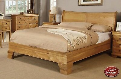 Sweet Dreams Grayson Solid Oak Wooden Sleigh Bed Frame Double King Superking
