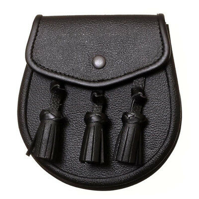 New Scottish Black Leather Day Sporran with 3 Knotted Tassels For Kilt