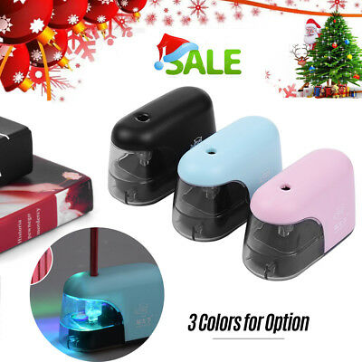 Electric Pencil Sharpener Battery Operated Desk School Stationery LED Light C8C2