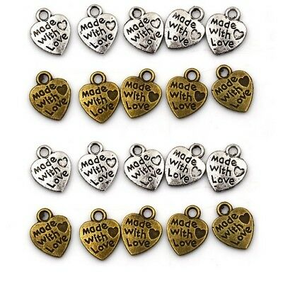 Made With Love Heart Sew Glue Craft Charm Garment Clothing Label Tags Handmade