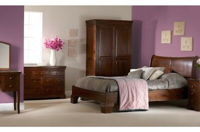Lincoln Solid Wooden Sleigh Bed Frame Dark Acacia Double King Superking Bedroom