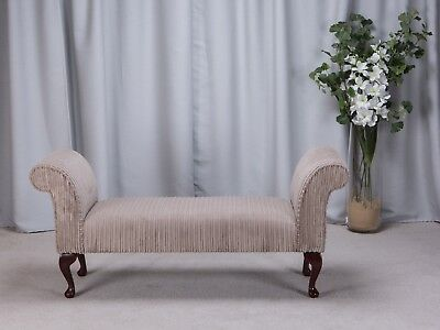 """56"""" Large Chaise Longue Lounge Sofa Seat Chair Mink Cord Fabric Queen Anne Legs"""