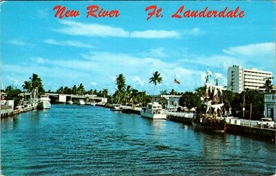Postcard Florida New River Fort Lauderdale Yachts Boats Bridge Courthouse E-18f