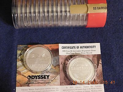 Rare 1941 WWII Sunken ship treasure: 1 troy Oz silver coin SS Gairsoppa & Story!