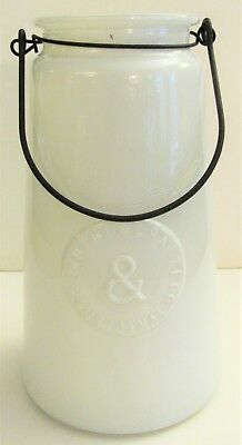 """LARGE VTG White GLASS PICKLE CANDY JAR w BALE HANDLE COUNTRY STORE 8 3/4"""" tall"""