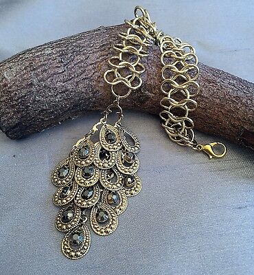Clip On Bag Charm. Gold Tone Beaded Chain Key Ring or Large Bag Accessory Gift