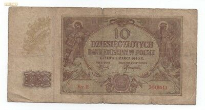 Poland 10 Zlotych 1940 Pick 94 Look Scans