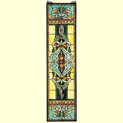 """Blackstone Hall Stained Glass Window Hanging Panel 35"""" Multicolor Home Art Decor"""