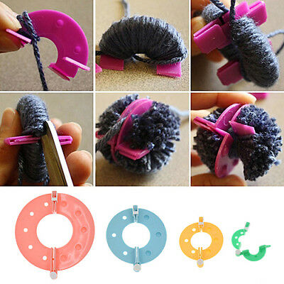 4 Size Pompom Maker Fluff Ball Weaver Needle Knitting Wool Tool DIY Handcraft