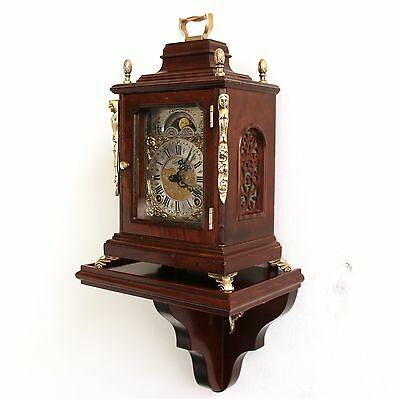 Dutch WARMINK Mantel TOP Clock Mid Century Moonphase Chime Vintage WALNUT Bronze