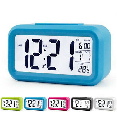 Backlight Alarm Clock Digital Time Temperature Screen Electric LED LCD Snooze
