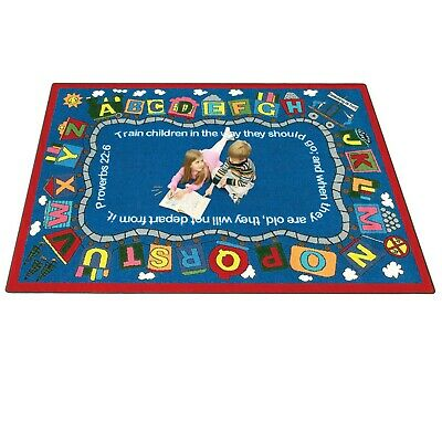 IncStores Joy Carpets Bible Train Kids Rug Classroom Rug