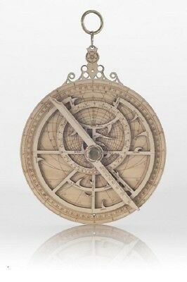 18cm Wooden Astrolabe; laser etched with brass pivot
