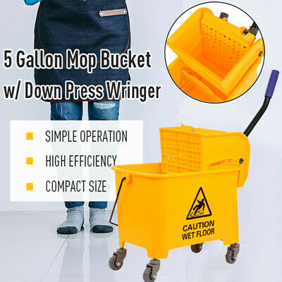 Plastic Commercial 20L Side Press Wet Mop Bucket & Wringer Combo Yellow Xmas
