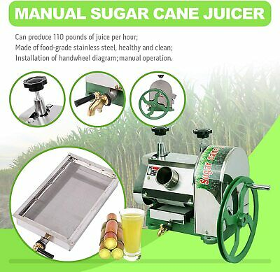 Commercial Manual Sugarcane Juicer Sugar Cane Extractor Squeezer Steel 50kg / h