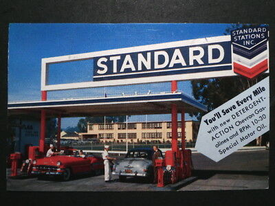 1950s Standard Oil Gas Station Postcard - Time For Service ca. 1958