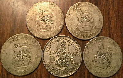 Lot Of 5 United Kingdom Silver Shilling .500 Silver Lot Of 5 Coins