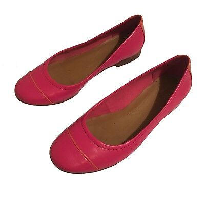 694a5a06ed4c CLARKS Ladies Women s Hot Pink Orange Leather Shoes Small Heel Ballet UK 6.5
