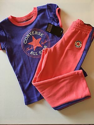 CONVERSE All Star Short Sleeve T-Shirt & Joggers Set Purple / Pink 3-4 Years